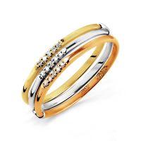 """Кольцо """"Трио"""" с бриллиантами (арт. Т101015345)"""